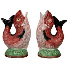 Pair of Painted Ceramic Fish Pitchers by Bordallo Pinheiro, Portugal, circa 1900