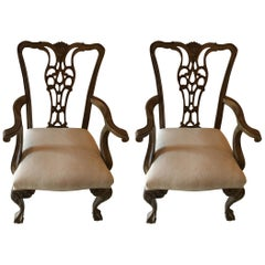 Pair of Painted Chairs with Ball and Claw Feet, 20th Century