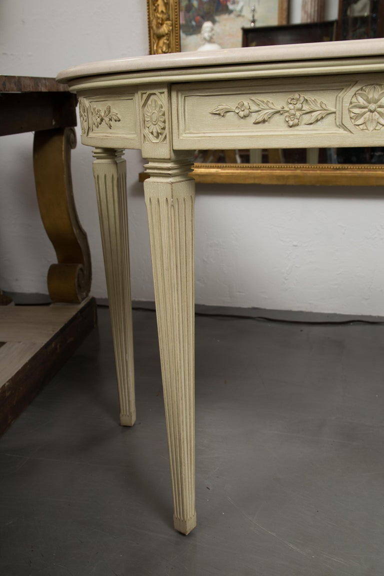 Italian Painted Consoles with Marble Tops For Sale