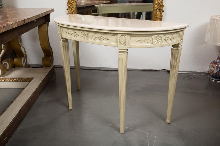 Painted Consoles with Marble Tops In Good Condition For Sale In WEST PALM BEACH, FL