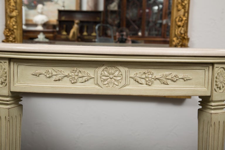 20th Century Painted Consoles with Marble Tops For Sale