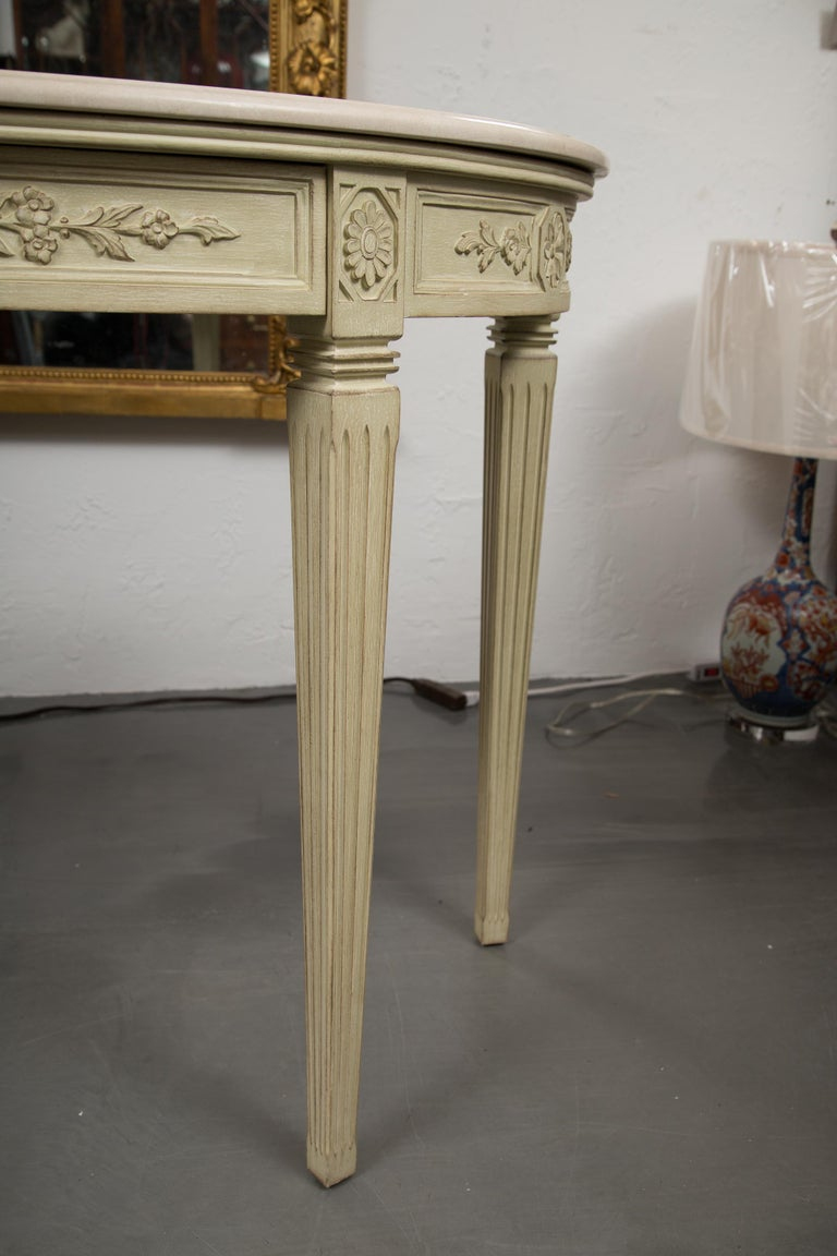 Wood Painted Consoles with Marble Tops For Sale