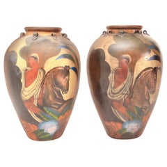 Pair of Painted Deco Style Antique Terracotta Amphora Jars