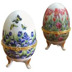 Pair of Painted Decorative Ceramic Boxes Tripod Eggs