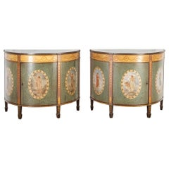 Pair of Painted Demilune Cabinets by Wright & Mansfield