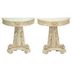 Pair of Painted Demilune Dolphin Consoles with Mirrored Tops