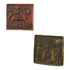 Pair of Painted Dutch Medieval Style Glazed Terracotta Reliefs Plaques