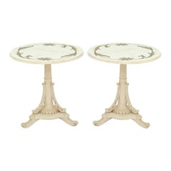 Pair of Painted End Tables with Bronze Inlay Marble Tops