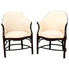 Pair of Painted Faux Bamboo Tub Chairs