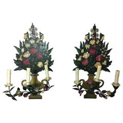 Pair of Painted Flower Back Three-Light Wall Sconces, Mid-20th Century