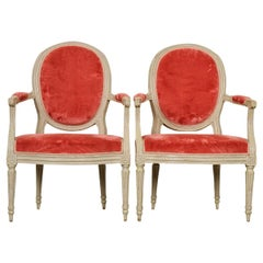 Pair of Painted French 19th Century Louis XVI-Style Fauteuils