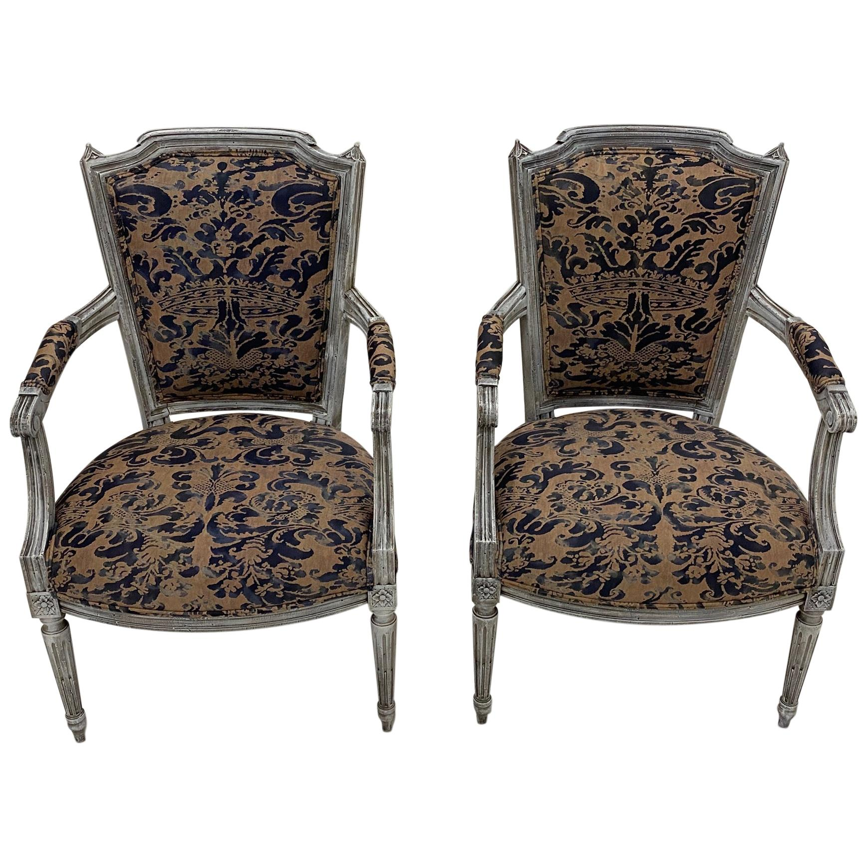 Pair of Painted French Armchairs Fauteuils with Fortuny Upholstery