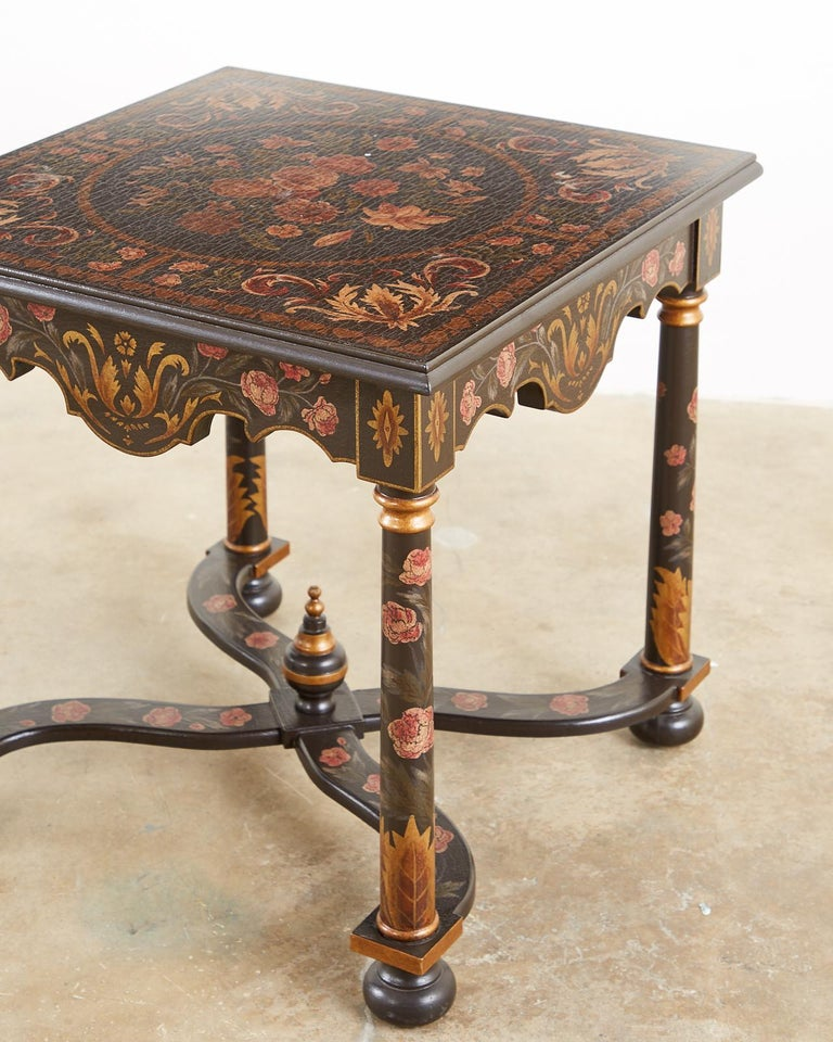 Pair of Painted French Louis XIII Style Lamp Tables For Sale 8