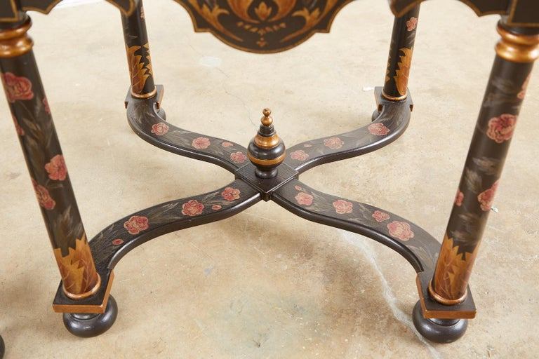 Pair of Painted French Louis XIII Style Lamp Tables For Sale 11