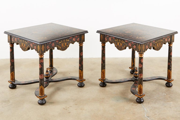 American Pair of Painted French Louis XIII Style Lamp Tables For Sale
