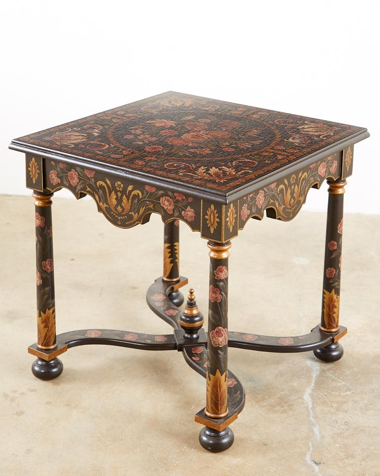 Lacquered Pair of Painted French Louis XIII Style Lamp Tables For Sale