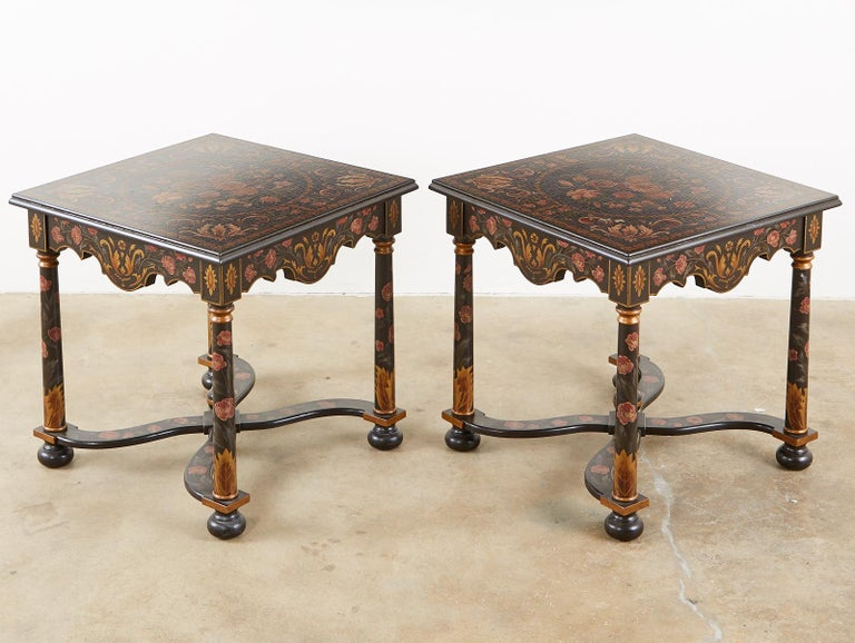 20th Century Pair of Painted French Louis XIII Style Lamp Tables For Sale
