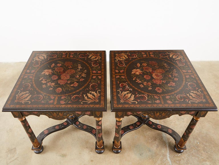 Wood Pair of Painted French Louis XIII Style Lamp Tables For Sale