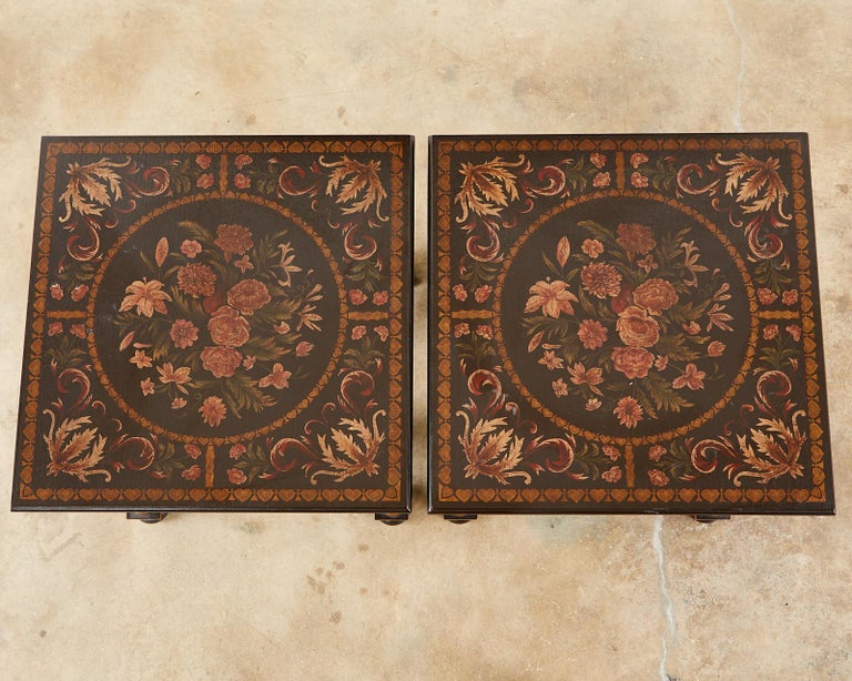 Pair of Painted French Louis XIII Style Lamp Tables For Sale 1