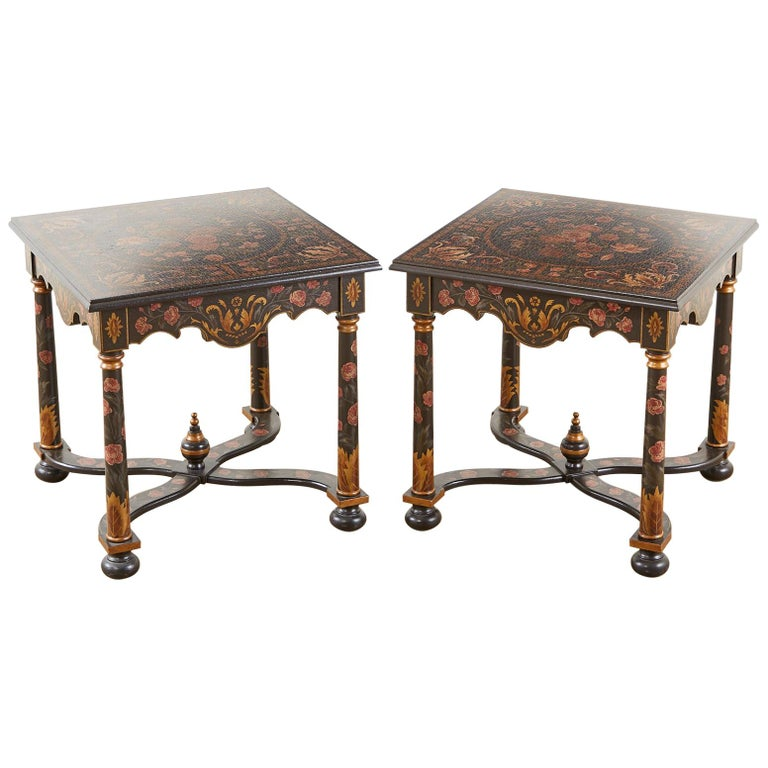 Pair of Painted French Louis XIII Style Lamp Tables For Sale