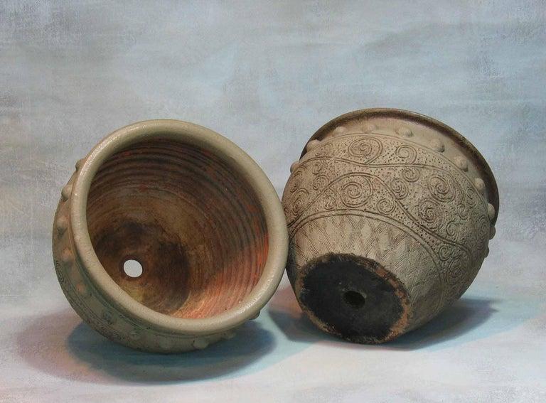 Greek Revival Pair of Painted Garden Terracotta Urns For Sale
