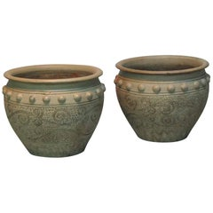 Pair of Painted Garden Terracotta Urns