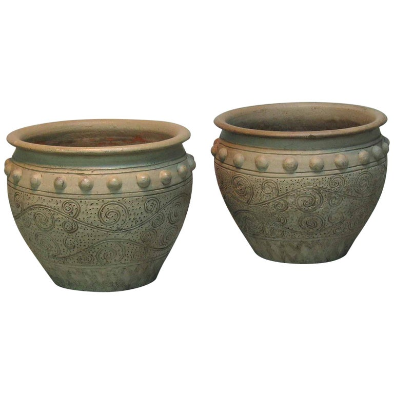 Pair of Painted Garden Terracotta Urns For Sale