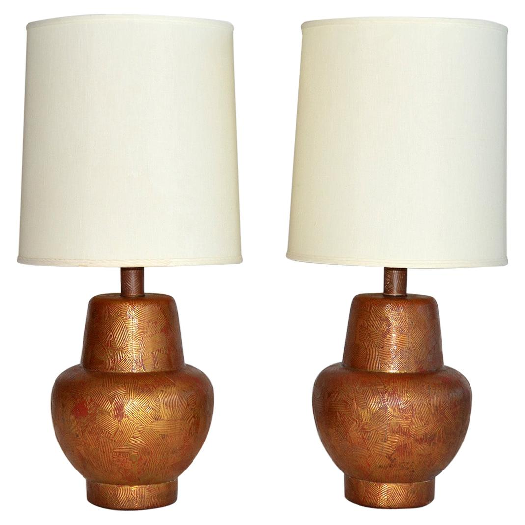 Pair of Painted Gilded Wood Lamps by James Mont