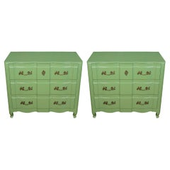Pair of Painted Green French Provincial Chests