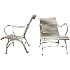 Pair of Painted Iron Garden or Patio Lounge Chairs, Early 20th Century
