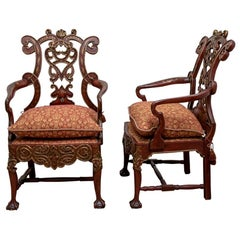 Pair of Painted Italianate Finely Crafted Armchairs