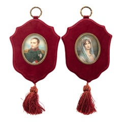 Pair of Painted Ivory Miniatures of Napoleon and Josephine, circa 1860