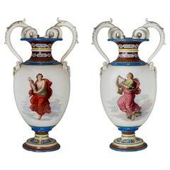 Pair of Painted KPM Porcelain Vases