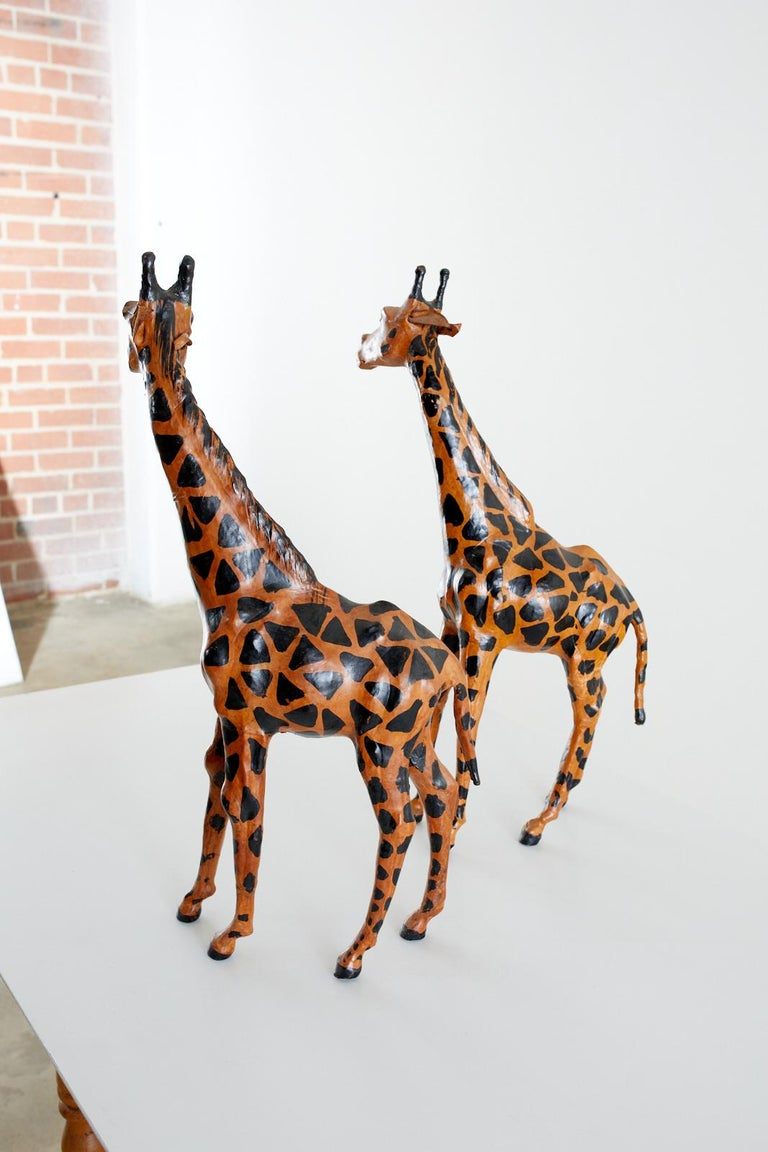 Pair of Painted Leather Giraffe Sculptures For Sale 6