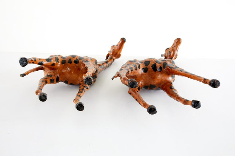 Pair of Painted Leather Giraffe Sculptures For Sale 7