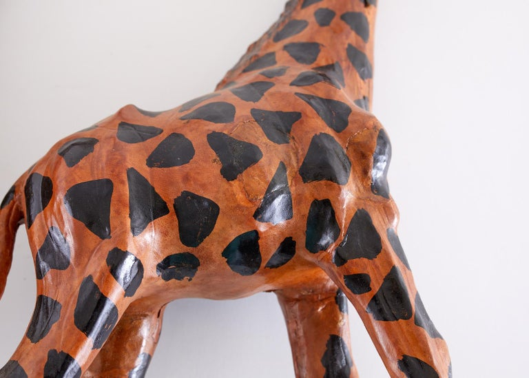 Pair of Painted Leather Giraffe Sculptures For Sale 8