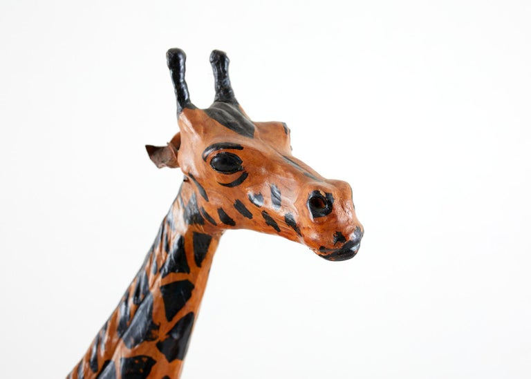 Mid-Century Modern Pair of Painted Leather Giraffe Sculptures For Sale