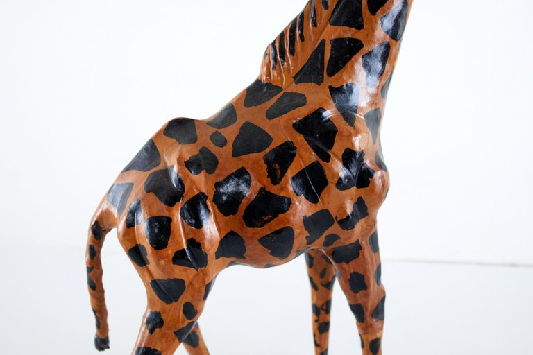 Hand-Crafted Pair of Painted Leather Giraffe Sculptures For Sale