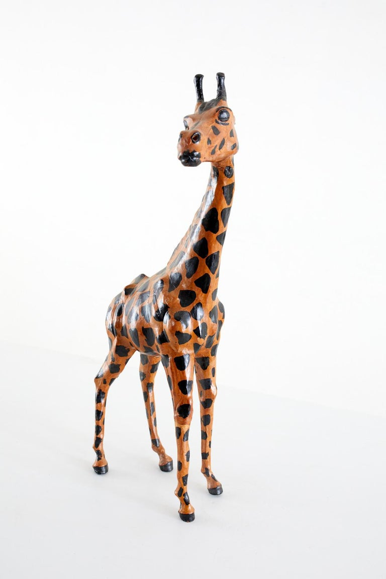 Pair of Painted Leather Giraffe Sculptures In Good Condition For Sale In Oakland, CA