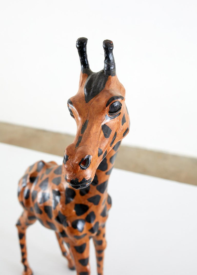 20th Century Pair of Painted Leather Giraffe Sculptures For Sale