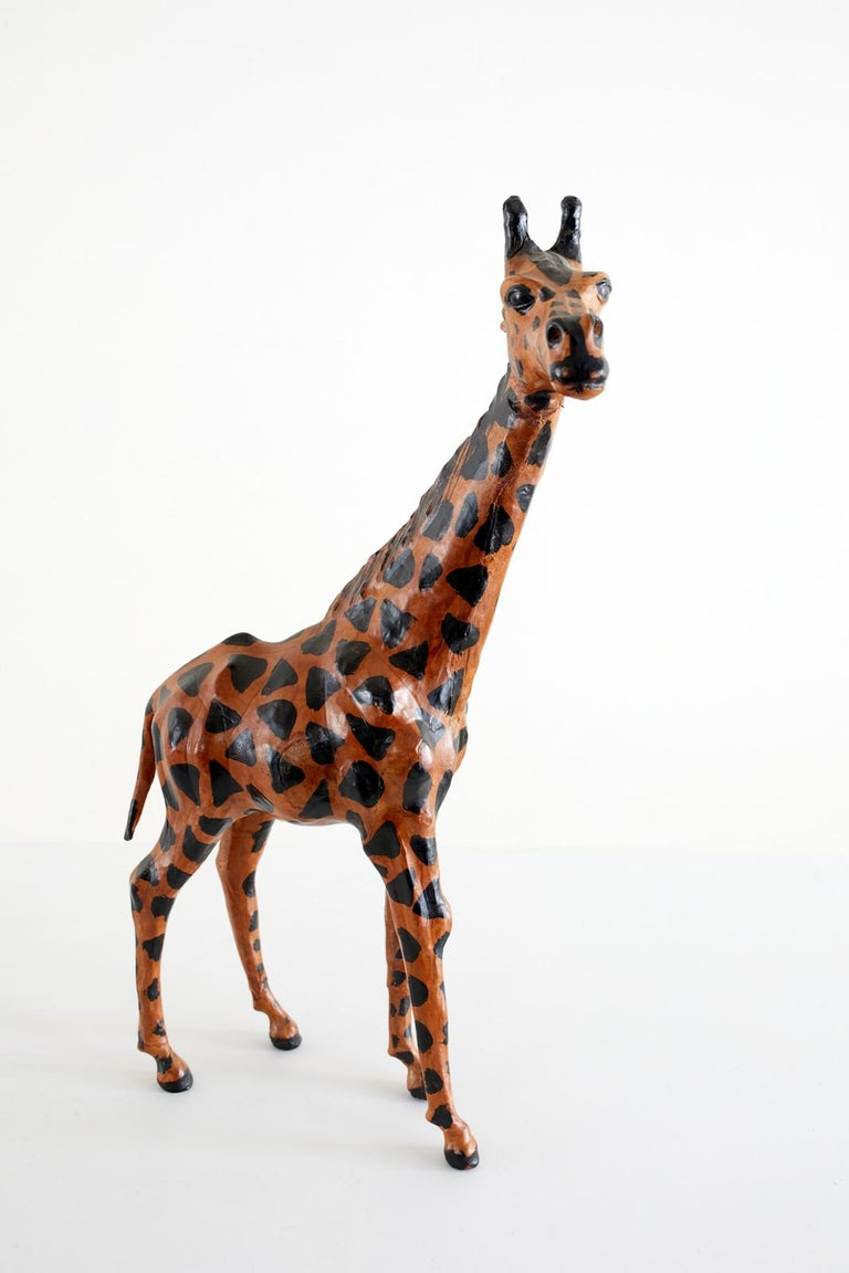 Pair of Painted Leather Giraffe Sculptures For Sale 1