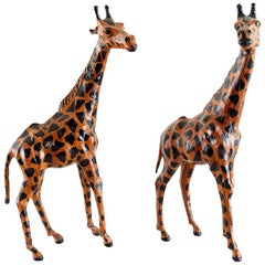 Pair of Painted Leather Giraffe Sculptures