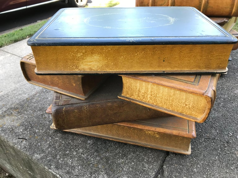 Pair of Painted Ledger Faux Book Form Low Tables as a Stack In Good Condition For Sale In Nashville, TN