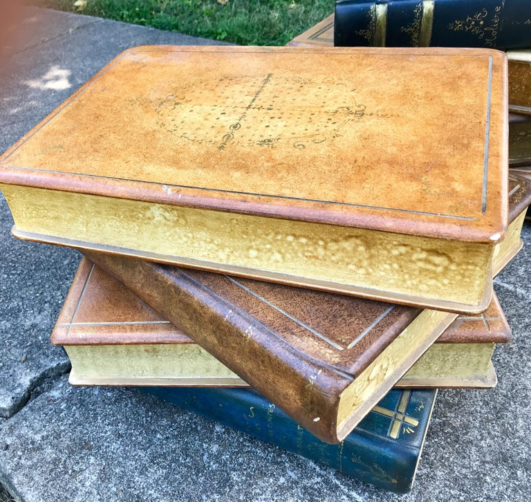 Wood Pair of Painted Ledger Faux Book Form Low Tables as a Stack For Sale
