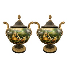 Pair of Painted Lidded Urns with Bronze Mounts