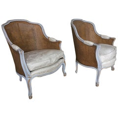 Pair of Painted Louis XVI Style Cane Back Side Chairs, Early 20th Century