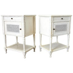 Pair of Painted Louis XVI Style Marble-Top Nightstands