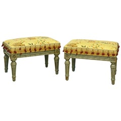 Pair of Painted Louis XVI Style Petite Ottomans Covered with Tropical Fabric