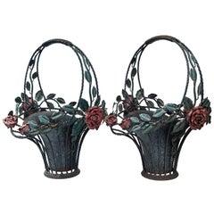 Pair of Painted Metal Flower Baskets