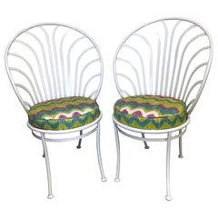 Pair of Painted Metal Peacock Chairs